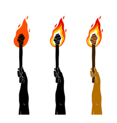 Torch in a hand raised up prometheus flames of vector