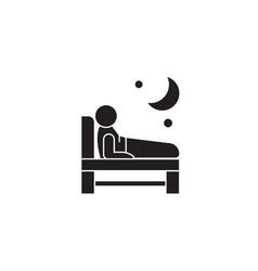 Trouble sleeping black concept ico vector