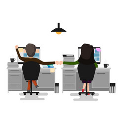 two business man and woman making a fist bump at vector image