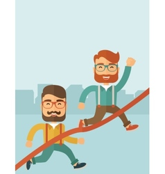 Two men running vector image