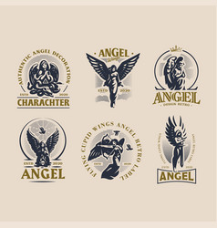 Vintage emblems with women angels vector