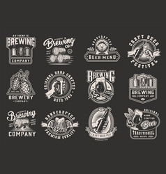 vintage monochrome brewing designs vector image