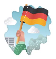 waving german flags human hands vector image
