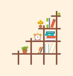 wooden book shelf and element flat design vector image