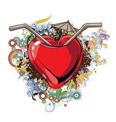 heart with floral vector image vector image