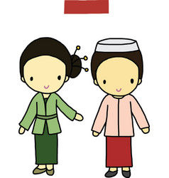 Indonesia traditional costume vector image vector image
