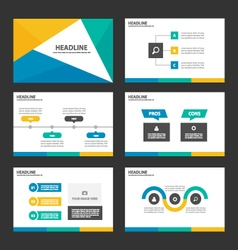 Yellow green blue presentation templates vector image