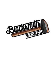 color vintage blacksmith emblem vector image