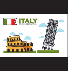 italy culture symbols or italian travel famous vector image vector image