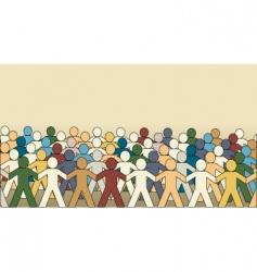 paper chain men vector image vector image
