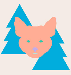 stylish fox head between christmas trees vector image vector image