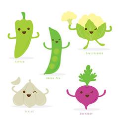 vegetable cartoon cute set vector image vector image