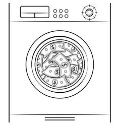 washing machine laundering dollars coloring book vector image