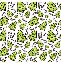 christmas tree seamless pattern winter holiday vector image