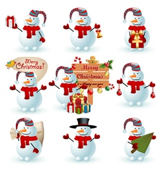 Collection of snowman vector image