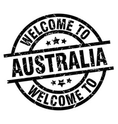 welcome to australia black stamp vector image vector image