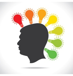 colorful bulb glow on head of people vector image
