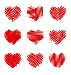 crosshatching valentines set vector image vector image