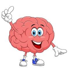 Cute brain cartoon character pointing vector image