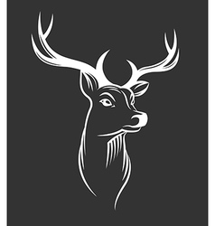 Deer head on black background vector image