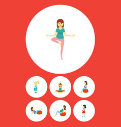 flat icon pregnant set of mother fitness pose vector image
