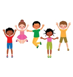 Group of happy jumping children isolated on white vector image vector image