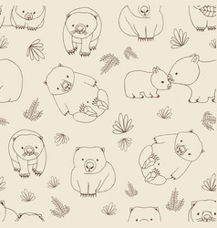 monochrome seamless pattern with funny wombats and vector image vector image
