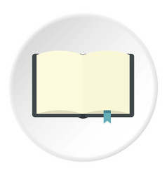 Open book with bookmark icon circle vector