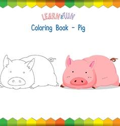 Pig coloring book educational game vector image vector image
