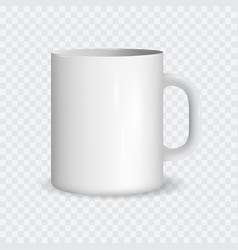 realistic white ceramic cup on a transparent vector image vector image