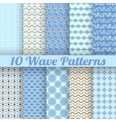 10 Wave different seamless patterns tiling vector