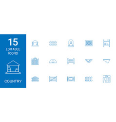 15 country icons vector image