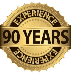 90 years of experience golden label vector