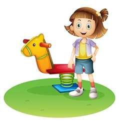 A girl standing beside a horse spring toy vector