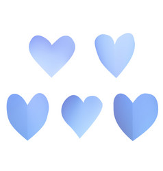 a set of blue paper hearts vector image