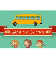 Back to school theme with students and bus vector