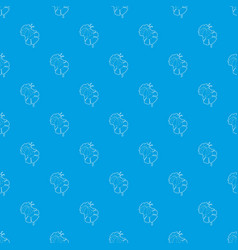 bee on flower pattern seamless blue vector image