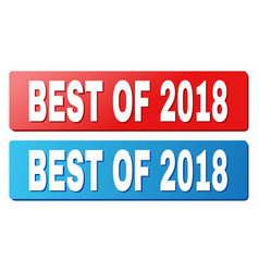 Best of 2018 title on blue and red rectangle vector