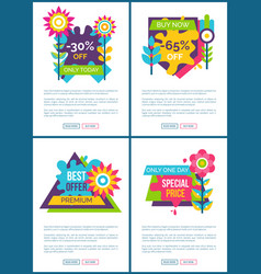 Best offer with special price promo web posters vector