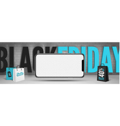 black friday smartphones sale banner template vector image