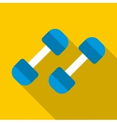 Blue dumbbells icon flat style vector