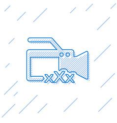 Blue line video camera with inscription xxx icon vector