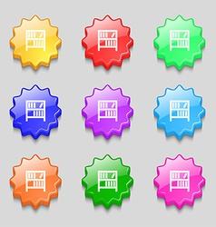 Bookshelf icon sign symbol on nine wavy colourful vector