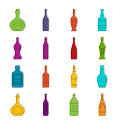 bottle forms icons doodle set vector image