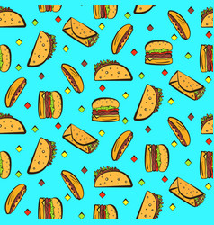 bright pattern with colorful fastfood on blue vector image
