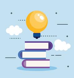 bulb light idea with books vector image