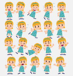 cartoon character white girl set with different vector image