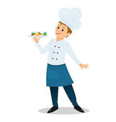 Cartoon chef with a plate of dinner vector