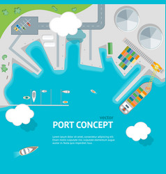 Cartoon port town and barge ship concept banner vector