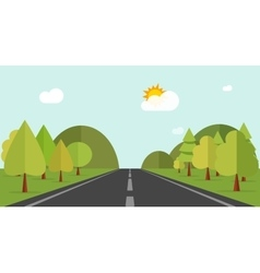 Cartoon road across green forest hills mountains vector